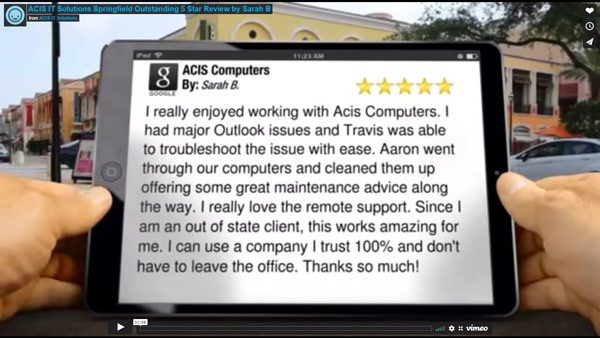 ACIS IT Solutions Springfield Outstanding 5 Star Review by Sarah B.