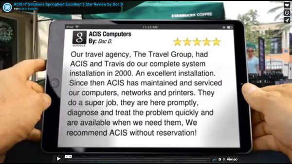 ACIS IT Solutions Springfield Excellent Five Star Review by Gwenda B.