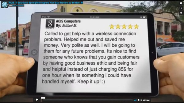 ACIS IT Solutions Springfield Superb Five Star Review by Brittani M.